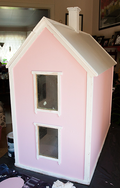 Pink! Still need to paint the white parts, mom painted the chimney after I left